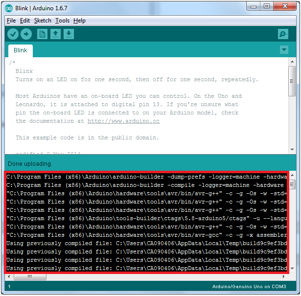 arduino how to change to verbose output